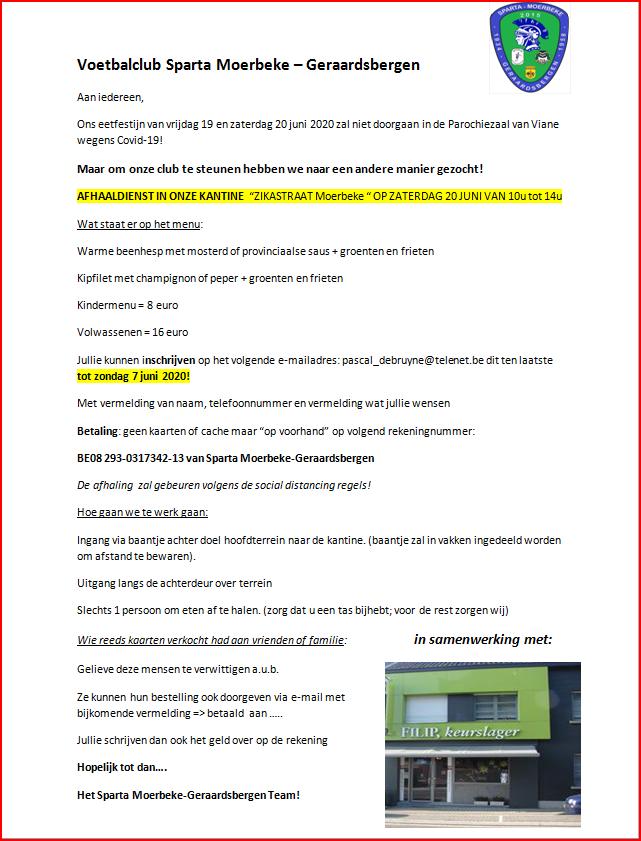 eetfestijn Sparta Moerbeke – Geraardsbergen 20 juni 2020