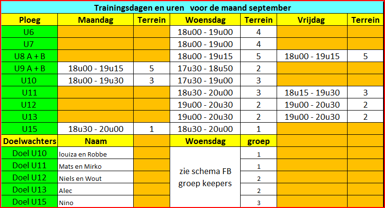 trainingsschema september 2020